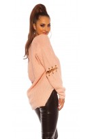 Sexy KouCla V-Cut sweater with chain decoration Rose