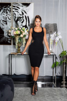 Sexy KouCla Knit dress with Cut Out and chains Black