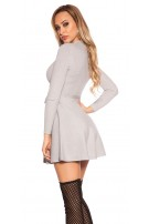 Sexy KouCla ripp knit dress wrap look Grey