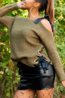 Sexy KouCla One Shoulder knit jumper Khaki