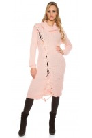 Trendy KouCla chunky knit dress with XL collar Rose