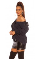 Trendy KouCla V-Cut knit sweater with loops Navy