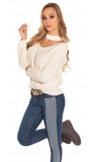 Trendy KouCla V-Cut knit jumper Beige