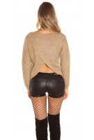 Trendy KouCla Glitter jumper with sexy back Cappuccino