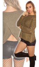 Trendy KouCla Glitter jumper with sexy back Khaki