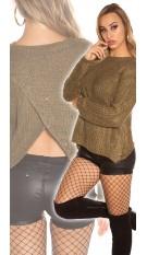 Trendy KouCla Glitter jumper with sexy back Khaki