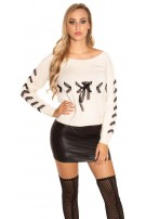 Trendy KouCla knit sweater with lacing Beige
