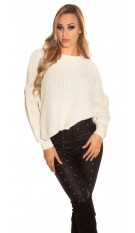 Trendy KouCla knit sweater with side- Button Beige