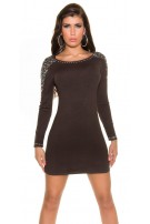 Trendy Koucla minidress with rhinestones Brown