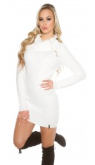 knit dress with XL collar White