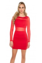 Sexy KouCla minidress with transparent sleeves Red