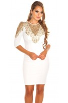 Sexy KouCla dress with Golden lace Beige