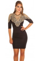 Sexy KouCla dress with Golden lace Black