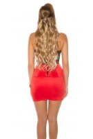 Sexy KouCla neckholder mini dress with peplum Red