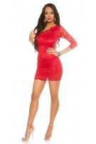 Sexy Party One-Arm-Minidress laced Red