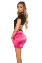 Sexy miniskirt in businesslook with stiched belt Fuchsia
