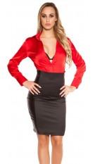 Sexy hoge-taille-rok met lederlook zwart