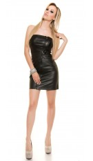 Sexy Bandeau-Minidress with asymZip in Leatherlook Black