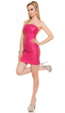 Sexy Bandeau-Minidress with asymZip in Leatherlook Fuchsia