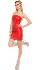Sexy Bandeau-Minidress with asymZip in Leatherlook Red