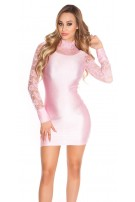 Sexy Minidress with lace, gathered Pink