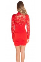 Sexy Minidress with lace, gathered Red