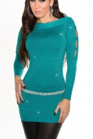 Fineknitted-minidress with glitter-effect Sapphire