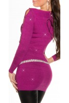 Fineknitted-minidress with glitter-effect Violet