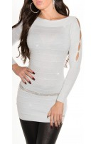 Fineknitted-minidress with glitter-effect White