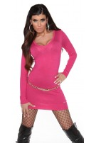 Sexy KouCla knitdress to tie on back Fuchsia