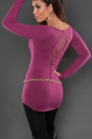 Sexy KouCla longsweater with studs and embroidery Violet