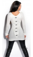 Sexy KouCla Longsweater with lace and bows Cream