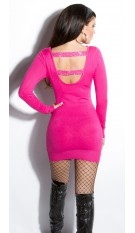 Sexy KouCla fineknit-minidress backfree Fuchsia