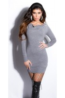Sexy KouCla fineknit-minidress backfree Grey
