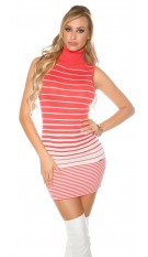 Sexy KouCla turtleneck knit dress backfree Coral