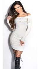 Sexy KouCla knit-minidress with studs and zip White