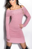 Sexy KouCla knit-minidress with studs and zip Rose