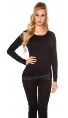 Sexy KouCla sweater asymmet. collar + rhinestones Black