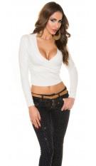 Sexy KouCla V-cut sweater in wrap look White