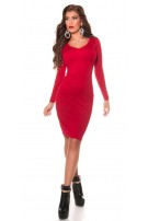 Sexy Koucla knitted dress with rhinestones Red