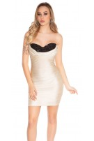 Sexy bandeau party mini dress with stones Sandgold