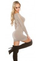 Sexy KouCla Long jumper / mini dress with slits Taupe