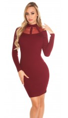 Sexy KouCla Ripp knit dress with mesh Bordeaux