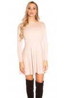 Trendy KouCla knit dress with embroidery & mesh Antiquepink