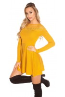 Trendy KouCla knit dress with embroidery & mesh Mustard
