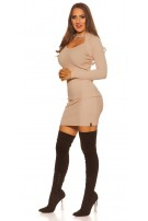 Sexy KouCla 2in1 Bolero knit dress with decors Beige