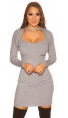 Sexy KouCla 2in1 Bolero knit dress with decors Grey