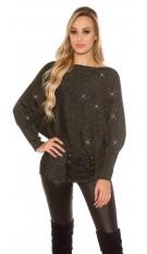 Trendy glitter vleermuis-trui met veter zwart