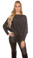 Trendy KouCla glitter bat jumper with lacing Navy