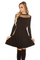 Sexy KouCla knit dress w. mesh & corsage deco Black